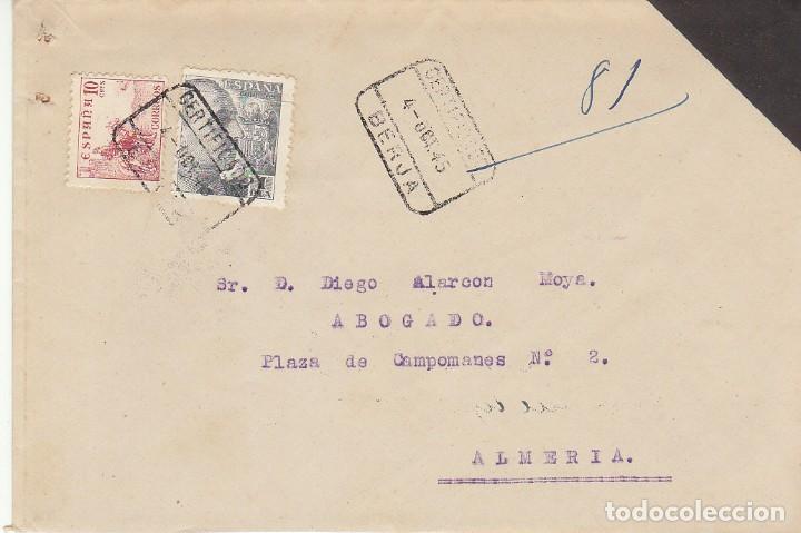 LUTO: BERJA A ALMERIA.1945. (Sellos - España - Estado Español - De 1.936 a 1.949 - Cartas)