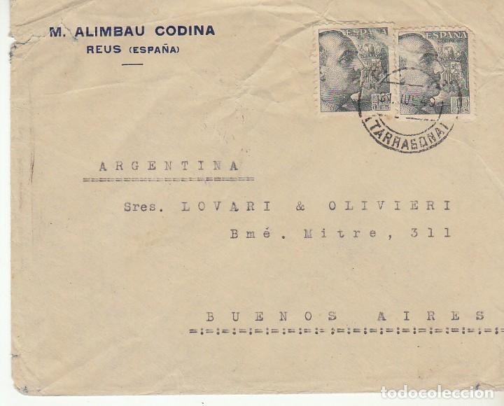 CENSURA MILITAR :REUS A BUENOS AIRES (ARGENTINA).1940 (Sellos - España - Estado Español - De 1.936 a 1.949 - Cartas)