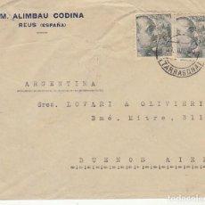 Sellos: CENSURA MILITAR :REUS A BUENOS AIRES (ARGENTINA).1940. Lote 171698294