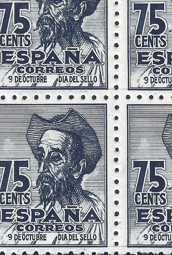 Sellos: EDIFIL 1013 CENTENARIO DEL NACIMIENTO DE CERVANTES 1947 (VARIEDAD...1013T Y 1013M). LUJO. MNH ** - Foto 3 - 171741693