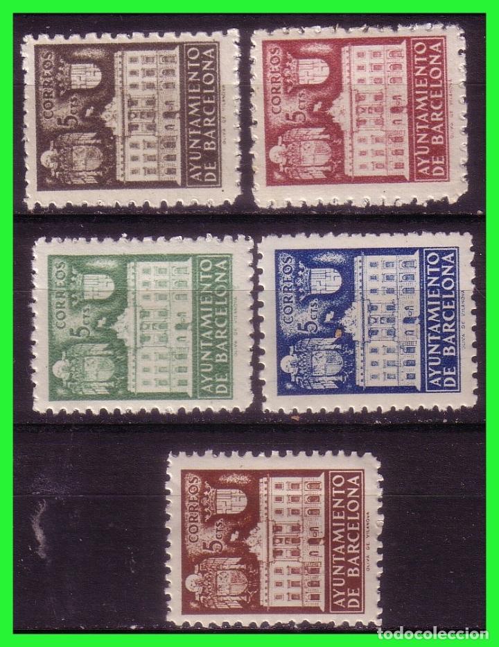 BARCELONA 1942 FACHADA DEL AYUNTAMIENTO, EDIFILNº 33 A 37 * * (Sellos - España - Estado Español - De 1.936 a 1.949 - Nuevos)