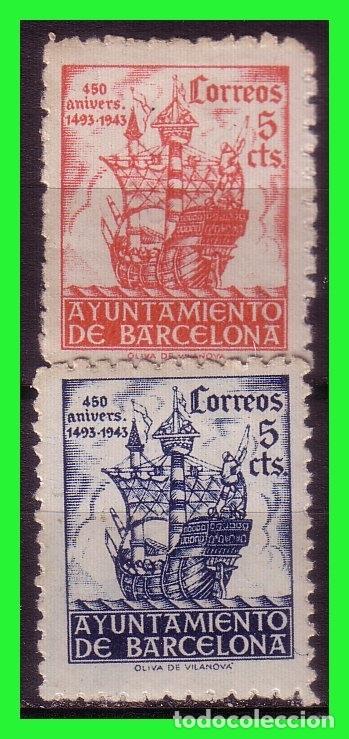 BARCELONA 1943 450 ANIVº LLEGADA DE COLÓN, EDIFILNº 49 Y 50 * * (Sellos - España - Estado Español - De 1.936 a 1.949 - Nuevos)