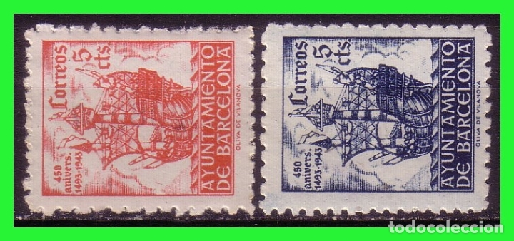 BARCELONA 1943 450 ANIVº LLEGADA DE COLÓN, EDIFILNº 49 Y 50 * (Sellos - España - Estado Español - De 1.936 a 1.949 - Nuevos)