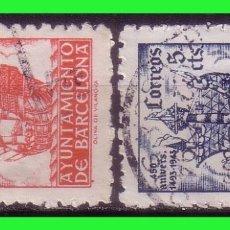 Sellos: BARCELONA 1943 450 ANIVº LLEGADA DE COLÓN, EDIFILNº 49 Y 50 (O). Lote 171838147