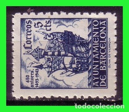 BARCELONA 1943 450 ANIVº LLEGADA DE COLÓN, EDIFILNº 50 IT * * VARIEDAD (Sellos - España - Estado Español - De 1.936 a 1.949 - Nuevos)