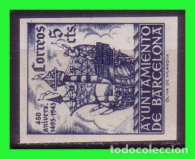BARCELONA 1943 450 ANIVº LLEGADA DE COLÓN, EDIFILNº 50S * (Sellos - España - Estado Español - De 1.936 a 1.949 - Nuevos)
