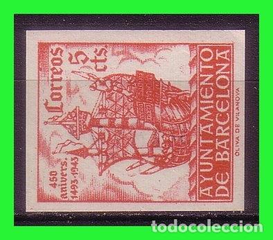 BARCELONA 1943 450 ANIVº LLEGADA DE COLÓN, EDIFILNº 49S * (Sellos - España - Estado Español - De 1.936 a 1.949 - Nuevos)