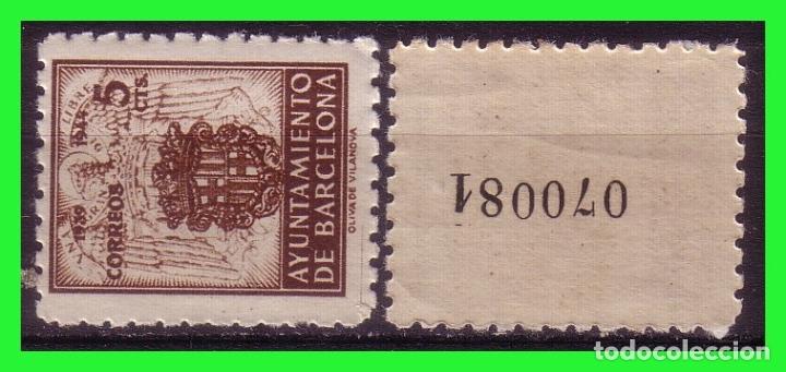 BARCELONA 1944 ESCUDO NACIONAL Y DE LA CIUDAD, EDIFILNº 55NA * * VARIEDAD (Sellos - España - Estado Español - De 1.936 a 1.949 - Nuevos)