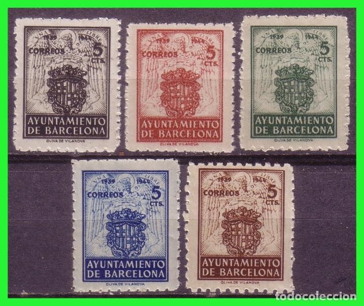 BARCELONA 1944 ESCUDO NACIONAL Y DE LA CIUDAD, EDIFILNº 55 A 59 * * (Sellos - España - Estado Español - De 1.936 a 1.949 - Nuevos)