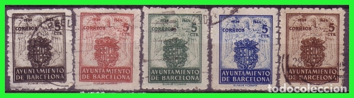 BARCELONA 1944 ESCUDO NACIONAL Y DE LA CIUDAD, EDIFILNº 55 A 59 (O) (Sellos - España - Estado Español - De 1.936 a 1.949 - Nuevos)