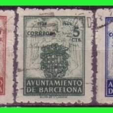 Sellos: BARCELONA 1944 ESCUDO NACIONAL Y DE LA CIUDAD, EDIFILNº 55 A 59 (O). Lote 171838593