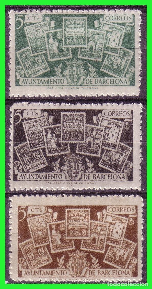 BARCELONA 1945 CESE DEL RECARGO, EDIFILNº 69 A 71 * (Sellos - España - Estado Español - De 1.936 a 1.949 - Nuevos)