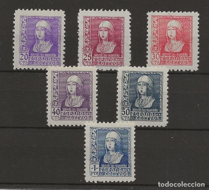 R7/ ESPAÑA 1938-39, EDIFIL 855/60 MH*, ISABEL LA CATOLICA (Sellos - España - Estado Español - De 1.936 a 1.949 - Nuevos)