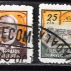 Timbres: HUÉRFANOS TELÉGRAFOS, VIÑETAS, 25 CTS., DOS VIÑETAS USADAS. AÑO 1945.. Lote 172612999