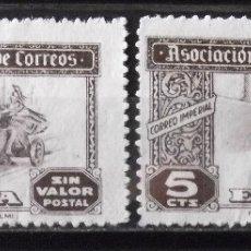 Sellos: HUÉRFANOS CORREOS, VIÑETAS, 5 CTS., DOS VIÑETAS USADAS, SIN MATASELLAR.. Lote 172757303