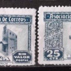 Sellos: HUÉRFANOS CORREOS, VIÑETAS, 25 CTS., DOS VIÑETAS USADAS, SIN MATASELLAR.. Lote 172758217