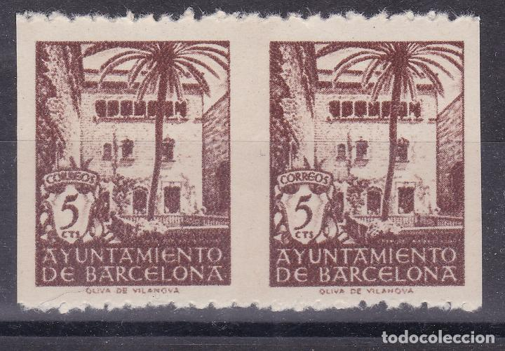 CC10- AYUNTAMIENTO BARCELONA EDIFIL 66. PAREJA VARIEDAD SIN DENTADO VERTICAL (*) SIN GOMA (Sellos - España - Estado Español - De 1.936 a 1.949 - Nuevos)