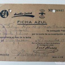 Sellos: VILLAJOYOSA. ALICANTE. FICHA AZUL. DICIEMBRE 1939. Lote 172945549