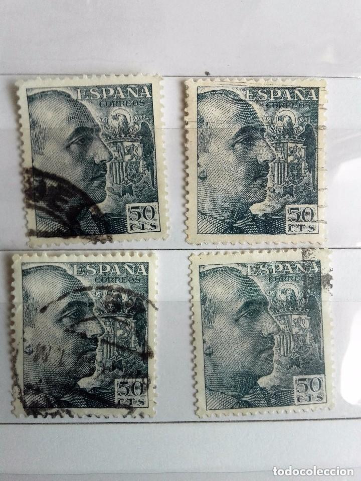 ESPAÑA LOTE DE 4 SELLOS IGUALES USADOS DE FRANCO DE 50 CETIMOS (Sellos - España - Estado Español - De 1.936 a 1.949 - Usados)
