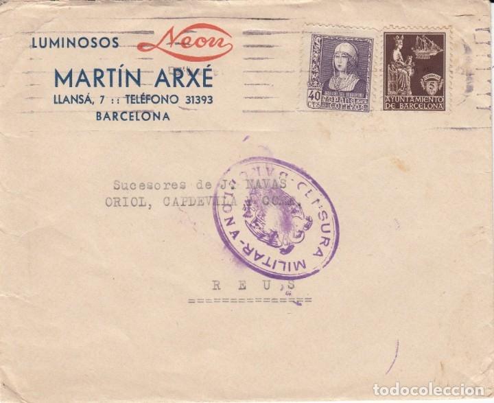 SOBRE COMERCIAL DE LUMINOSOS NEON DE MARTIN ARXÉ EN BARCELONA -CENSURA MILITAR Y SELLO AYUNT .BARC (Sellos - España - Estado Español - De 1.936 a 1.949 - Cartas)