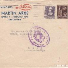 Sellos: SOBRE COMERCIAL DE LUMINOSOS NEON DE MARTIN ARXÉ EN BARCELONA -CENSURA MILITAR Y SELLO AYUNT .BARC. Lote 173499732