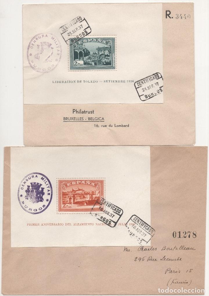 ESPAÑA=CARTAS CON HOJAS BLOQUES TOLEDO ALZAMIENTO_ VER 2 FOTOS (Sellos - España - Estado Español - De 1.936 a 1.949 - Cartas)