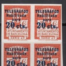 Sellos: BARCELONA, TELEGRAFOS, 1945 EDIFIL Nº 11S,, BLOQUE DE CUATRO SIN DENTAR, . Lote 174328372