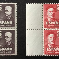 Sellos: 1947-ESPAÑA EDIFIL 1015/16 ZALLA Y ZULOAGA BLOQUE DE 4 CERTIFICADO COMEX. Lote 175019447