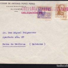 Sellos: F28-40-CARTA ALICANTE 1949. MATASELLOS LINEAL ROJO COMPAÑIA TRASMEDITERRANEA DELEGACION. Lote 175051808