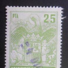 Sellos: ESPAÑA TIMBRE - FISCAL - POLIZA - 25 PESETAS. Lote 175068145