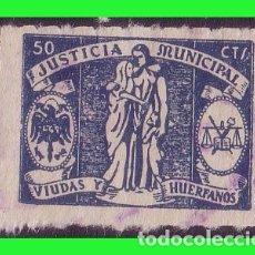 Sellos: FISCALES JUSTICIA MUNICIPAL, VIUDAS Y HUÉRFANOS, 50 CTS AZUL (O). Lote 175385904