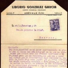 Sellos: GIROEXLIBRIS.- CARTA COMERCIAL DE LIBORIO GONZÁLEZ CIRCULADA DE ARÉVALÓ (AVILA) A MANRESA. Lote 175394962