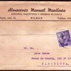 Sellos: GIROEXLIBRIS.- TARJETA COMERCIAL DE ALMACENES MANUEL MARTINEZ CIRCULADA DESDE BILBAO A BARCELONA. Lote 175401705
