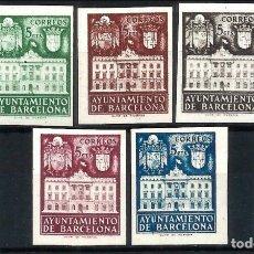 Sellos: ESPAÑA-1942 - BARCELONA EDIFIL 33/37 S - SIN DENTAR - SERIE COMPLETA - MH* - NUEVOS - VALOR CAT. 74€. Lote 175421144