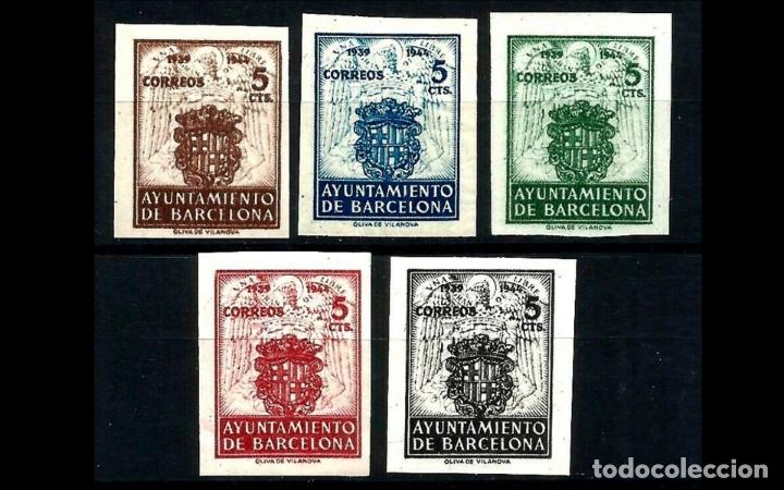 ESPAÑA-1944 - BARCELONA EDIFIL 55/59 S - SIN DENTAR - SERIE COMPLETA - MH* - NUEVOS - VALOR CAT. 69€ (Sellos - España - Estado Español - De 1.936 a 1.949 - Nuevos)