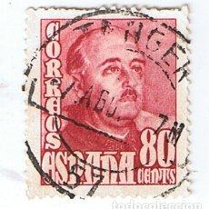 Sellos: EDIFIL 1023 PERFIL DE FRANCO 80 CTS. SELLO USADO CON MATASELLO DE TANGER 1948-54. Lote 175561964