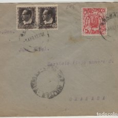 Selos: GRANADA - CENSURA MILITAR - SELLO PLATO ÚNICO Y REPÚBLICA - SOBRE DE CARTA E. ESPAÑOL. Lote 175789495
