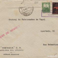 Sellos: GUIPUZCOA - HERNANI CENSURA MILITAR - FRANQUEO MIXTO FALANGE -REPÚBLICA - FRONTAL DE CARTA . Lote 175793213