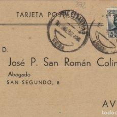 Sellos: GUIPUZCOA - SAN SEBASTIAN CENSURA MILITAR -FRANQUEO REPÚBLICA - TARJETA POSTAL . Lote 175798959