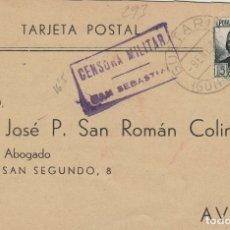 Sellos: GUIPUZCOA - SAN SEBASTIAN CENSURA MILITAR -FRANQUEO REPÚBLICA - TARJETA POSTAL . Lote 175798987