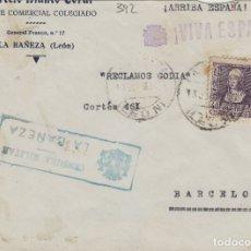 Sellos: LEÓN - LA BAÑEZA CENSURA MILITAR - - FRONTAL DE CARTA E. ESPAÑOL . Lote 175834303