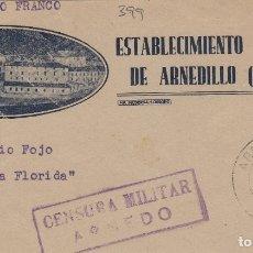 Sellos: LA RIOJA - ARNEDO CENSURA MILITAR - MEBT BALNEARIO ARNEDILLO- FRANGMENTO DE CARTA E. ESPAÑOL. Lote 175835675