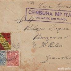 Sellos: MALAGA -CUEVAS DE SAN MARCOS CENSURA MILITAR - SELLO FISCAL - SOBRE DE CARTA E.ESPAÑOL . Lote 175855748
