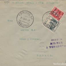 Sellos: MALAGA -YUNQUERA CENSURA MILITAR - SELLO PATRIÓTICOS - SOBRE DE CARTA E.ESPAÑOL . Lote 175855822