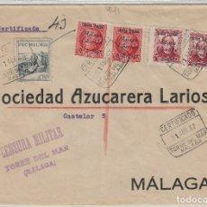 Sellos: MALAGA - TORRE DEL MAR CENSURA MILITAR - SELLO PATRIÓTICOS - SOBRE DE CARTA E.ESPAÑOL . Lote 175855918