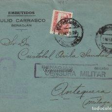 Sellos: MALAGA - BENAOJAN CENSURA MILITAR - RMT EMBUTIDOS CARRASCO- SOBRE DE CARTA E.ESPAÑOL . Lote 175856358