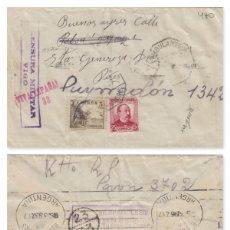 Sellos: PONTEVEDRA - VIGO CENSURA MILITAR -MAT AMBULANTE DEST ARGENTINA ,NOTA PATRIÓTICA DORSO. SOBRE CARTA . Lote 175861652