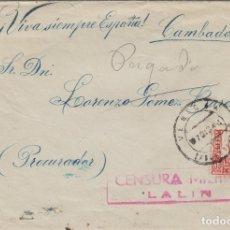 Sellos: PONTEVEDRA - LALIN CENSURA MILITAR -MATASELLOS TRÁNSITO . SOBRE DE CARTA E. ESPAÑOL. Lote 175861974
