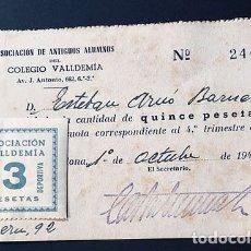 Sellos: CUPON 3 PESETAS / ASOCIACION VALLDEMIA / SECCION DEPORTIVA / BARCELONA 1948. Lote 190849272
