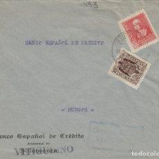 Sellos: SALAMANCA - VITIGUDINO CENSURA MILITAR . RMTE BANCO CRÉDITO - SOBRE DE CARTA E. ESPAÑOL. Lote 175868012